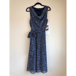 Long Navy floral dress with cowl neckline